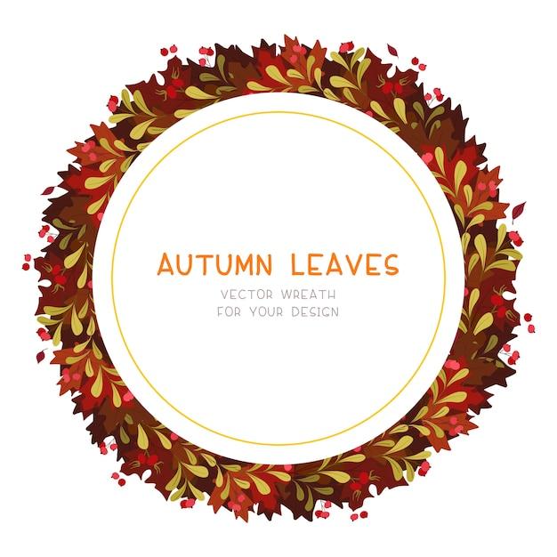 Herbstrot lässt dekorativen runden rahmen des flachen vektors. retro herbstlaub mit roten schneeballbeeren. saisonaler botanischer kranz mit copyspace Premium Vektoren