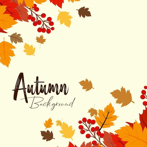 Herbstsaisondesign mit hellem hintergrundvektor Kostenlosen Vektoren