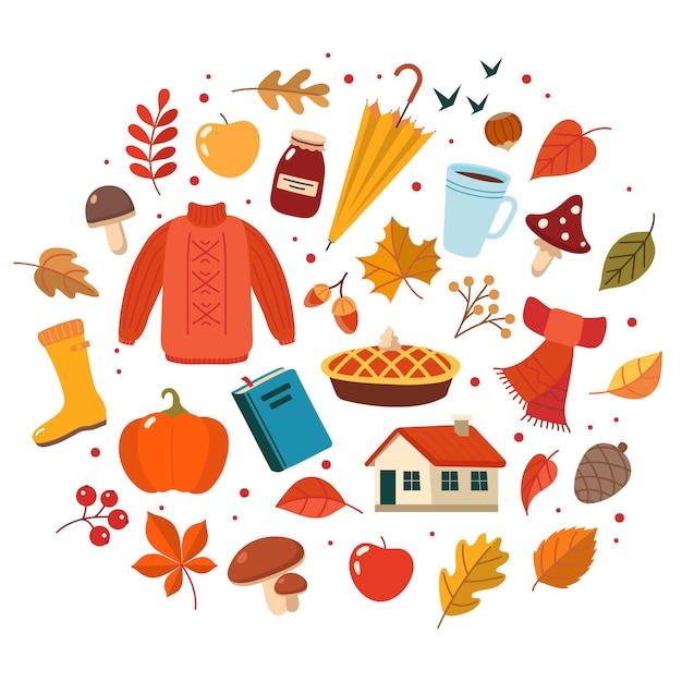Herbstset. sammlung süßer elemente Premium Vektoren
