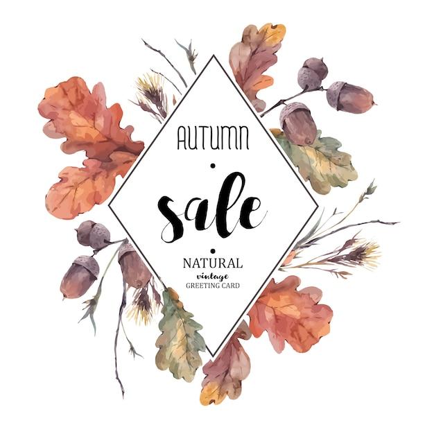 Herbststrauß von zweigen, gelbe eichenblätter Premium Vektoren