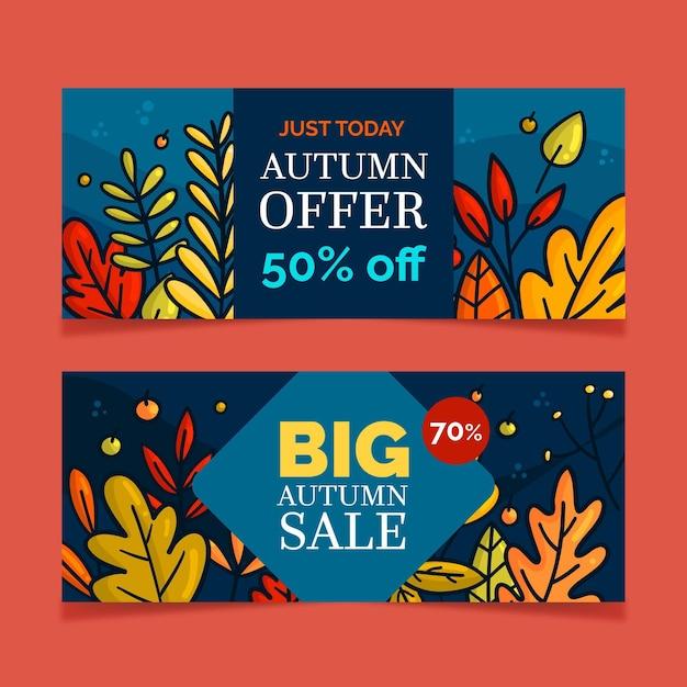 Herbstverkauf banner sammlung Kostenlosen Vektoren