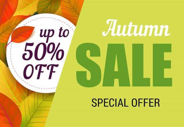 Herbstverkauf, bis zu 50% rabatt auf schriftzug mit blättern. herbstangebot oder verkaufswerbung Kostenlosen Vektoren