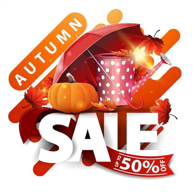 Herbstverkauf, moderne rabattfahne mit gartengießkanne Premium Vektoren