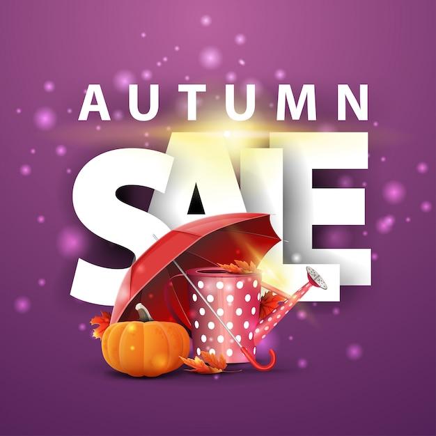 Herbstverkauf, purpurrote rabattfahne mit gartengießkanne, regenschirm und reifer kürbis Premium Vektoren