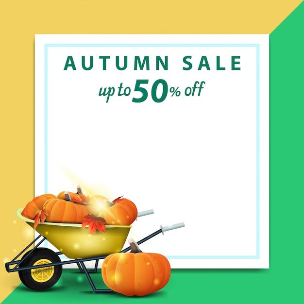 Herbstverkauf, schablone für rabattfahne in form eines blattes papier Premium Vektoren