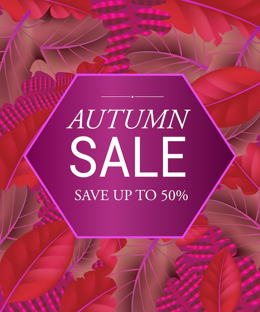 Herbstverkauf sparen sie bis zu fünfzig prozent schriftzug im sechseck. kreative beschriftung im rahmen Kostenlosen Vektoren