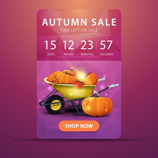 Herbstverkauf, webbanner mit countdown bis zum verkaufsende mit gartenschubkarre Premium Vektoren