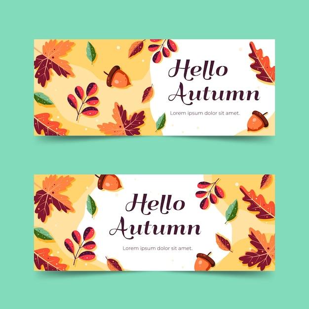 Herbstverkaufsbanner im flachen design Kostenlosen Vektoren