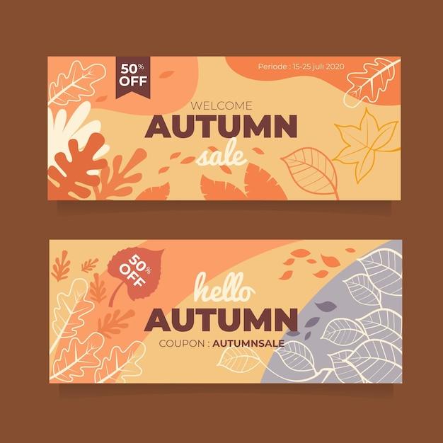 Herbstverkaufsbanner mit blättern Kostenlosen Vektoren