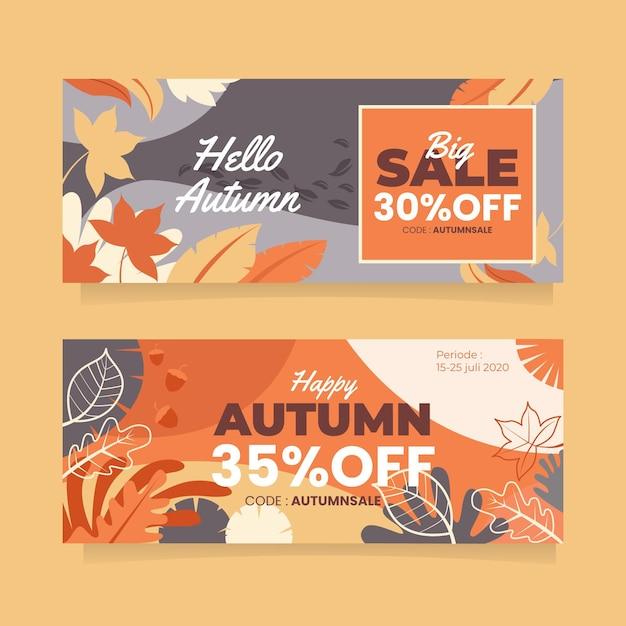 Herbstverkaufsbanner mit laub Premium Vektoren