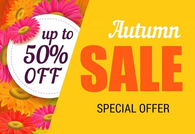 Herbstverkaufsbeschriftung mit hellen blumen. herbstangebot oder verkaufswerbung Kostenlosen Vektoren