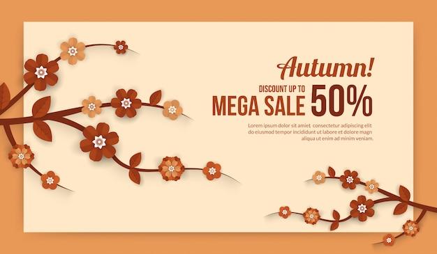Herbstverkaufsfahne mit blumenelementen im papier schnitt art für einkaufsverkauf oder promoplakat Premium Vektoren