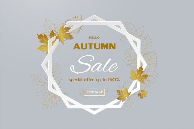 Herbstverkaufsfahne mit goldenen blättern auf hexagonrahmen Premium Vektoren