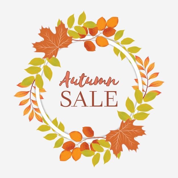 Herbstverkaufsfahne mit kreiskranz Premium Vektoren