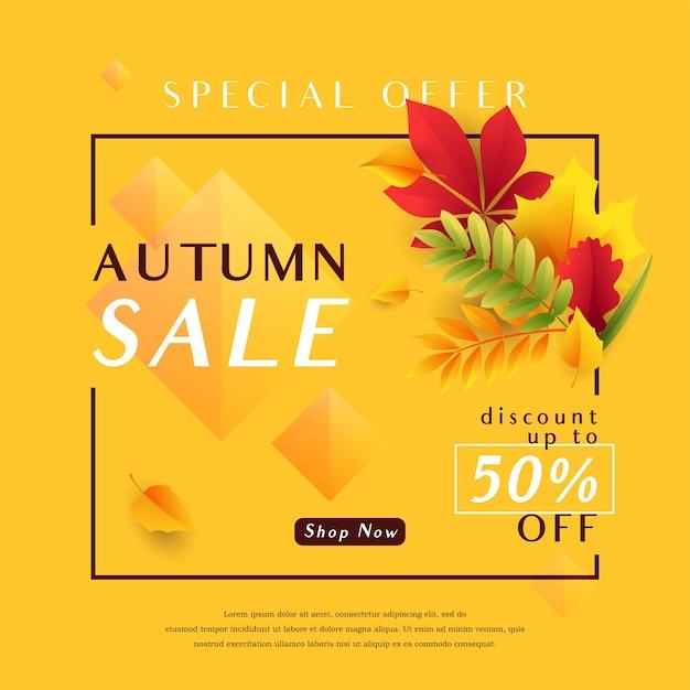 Herbstverkaufsfahnenschablone mit fallenden blättern Kostenlosen Vektoren