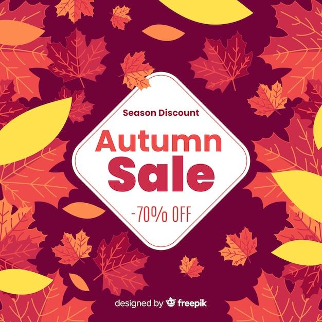 Herbstverkaufshintergrund in der flachen art Kostenlosen Vektoren