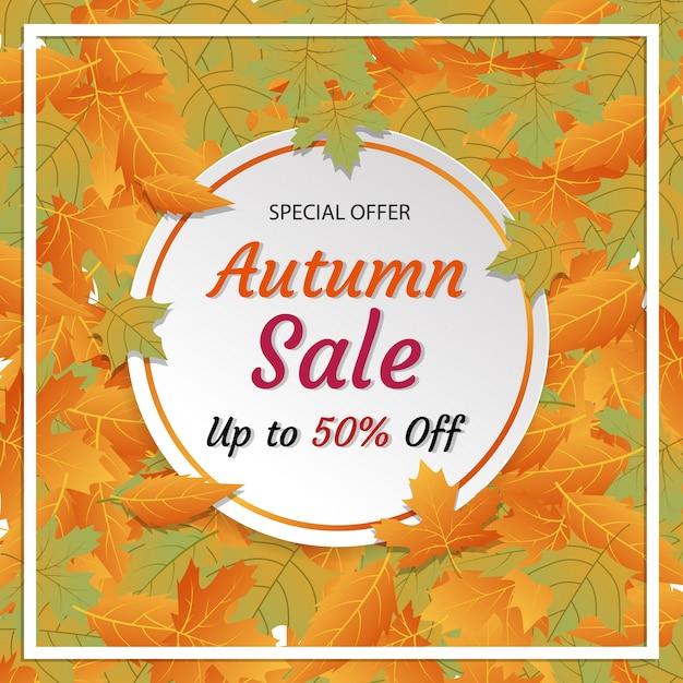 Herbstverkaufsrabattquadratsocial media instagram anzeigenfahne Premium Vektoren