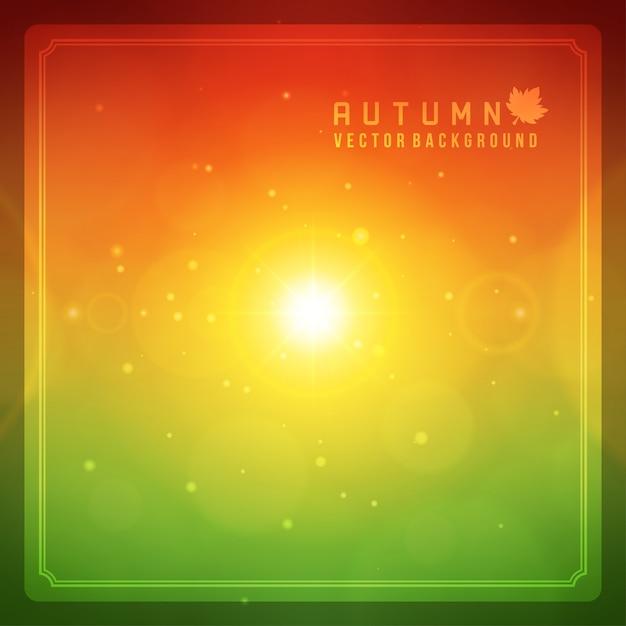 Herbstzusammenfassung unscharfes bokeh und helles blendenfleckhintergrund der sonne. Premium Vektoren