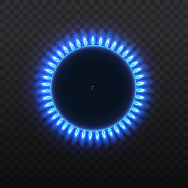 Herd mit brennendem gas. gasbrenner, blaue flamme, draufsicht lokalisiert auf einem transparenten hintergrund. Premium Vektoren