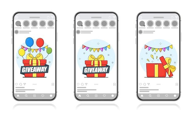 Hergeben. kostenloses marketingkonzept. geschenk mit bällen ziehen. bildschirmvorlage für ein mobiles smartphone. Premium Vektoren