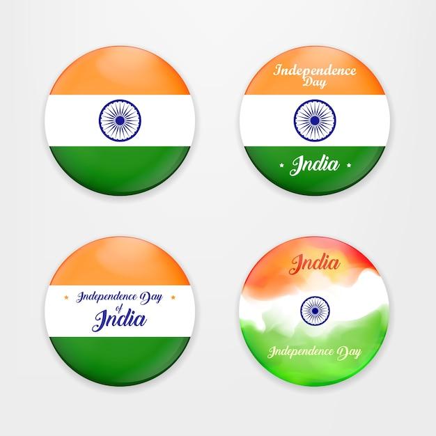 Hergestellt in indien. sammlung von abzeichen. abbildung der satz von banner und abzeichen für farbenfrohe indien. indian independence day konzept hintergrund mit ashoka rad. vektor-illustration. Premium Vektoren
