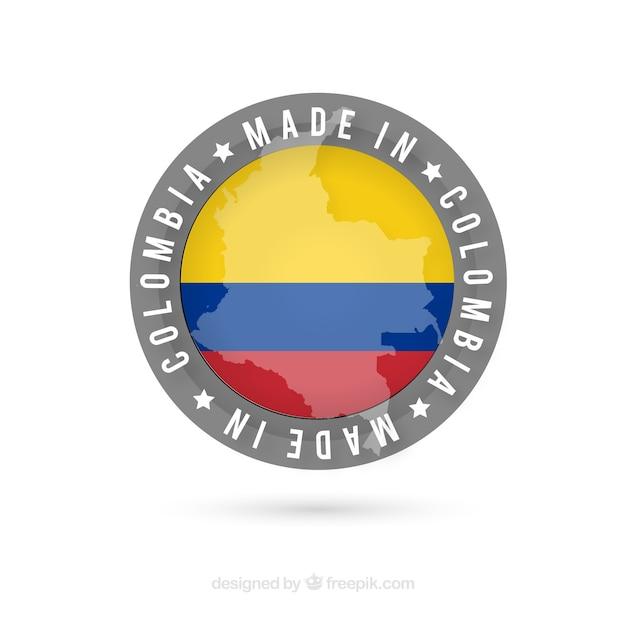 Hergestellt in kolumbien etikett Kostenlosen Vektoren