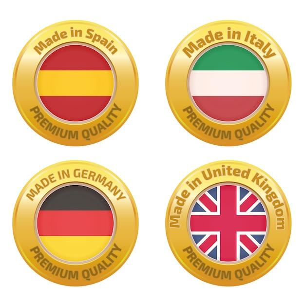 Hergestellt in spanien, italien, deutschland, großbritannien abzeichen gesetzt Premium Vektoren