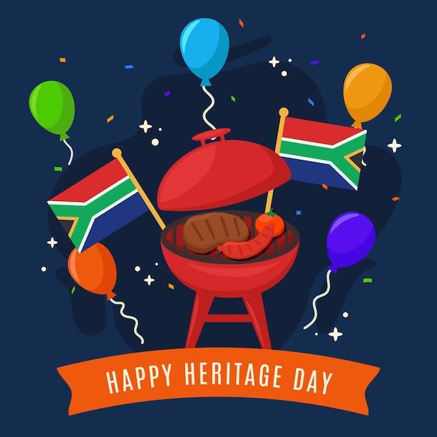 Heritage day südafrika mit flaggen und luftballons Kostenlosen Vektoren
