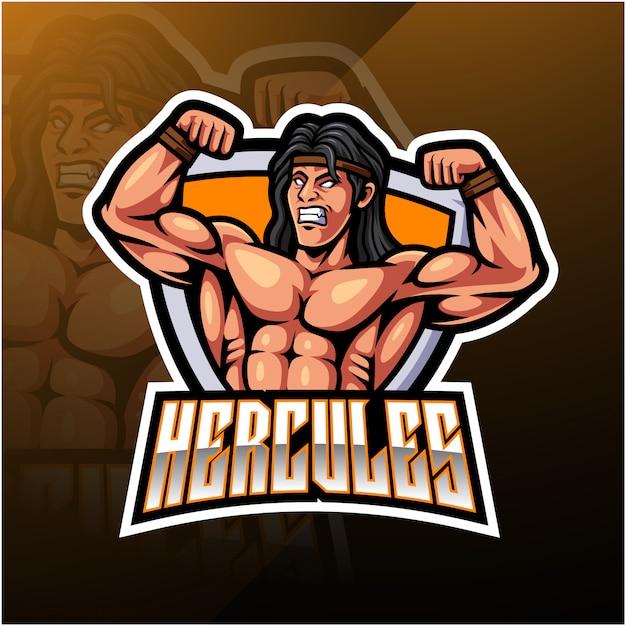 Herkules-maskottchen-logo Premium Vektoren