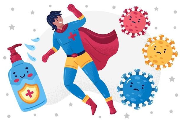 Heroischer mann und seife bekämpfen das virus Kostenlosen Vektoren