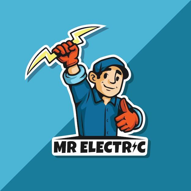 Herr elektrisches logo Premium Vektoren
