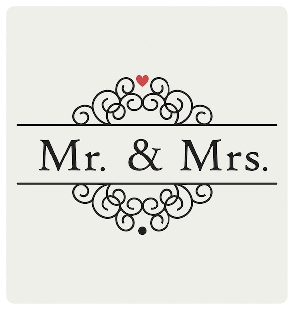 Herr Und Frau Hochzeit Zeichen Typografischen Vektor Design