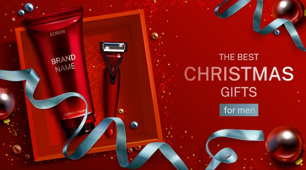 Herren kosmetik weihnachtsgeschenk banner vorlage. aftershave-cremetube, rasierklinge in der ansicht der roten box. kosmetikprodukt für rasierer und körperpflege Kostenlosen Vektoren