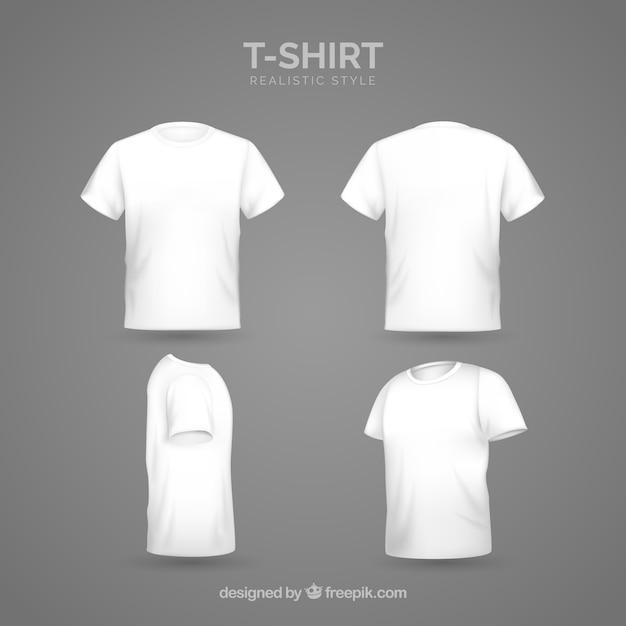 Herren t-shirt in verschiedenen ansichten mit realistischem stil Kostenlosen Vektoren