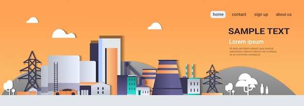 Herstellung von fabrikgebäuden industriegebiet anlage mit rohren Premium Vektoren