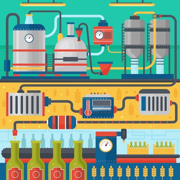 Herstellungsprozess der bierbrauerei. fabrikbier. flaches design vektor-illustration. Premium Vektoren