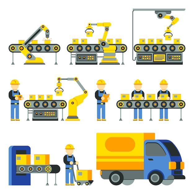 Herstellungsprozess mit produktionsfertigungsstraße flache ikonen. fabrikausrüstung und industri Premium Vektoren