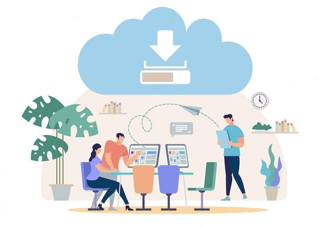 Herunterladen von dateien vom online-cloud-vektor-konzept Premium Vektoren