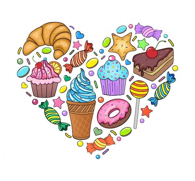 Herz aus süßigkeiten Premium Vektoren
