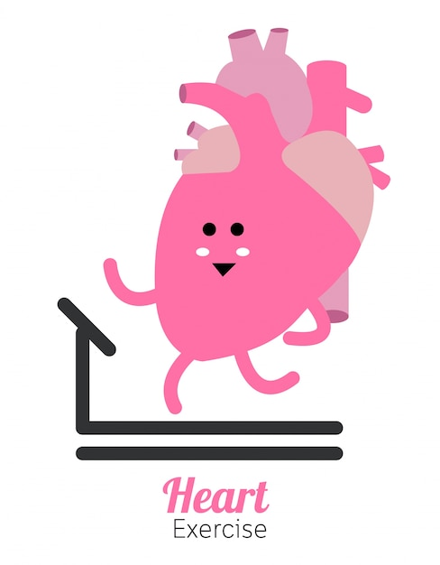 Herz charactor vektor-design-fitness für smart herz mit laufen Premium Vektoren