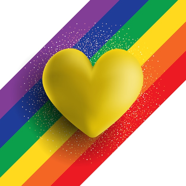 Herz des gold 3d auf einem gestreiften hintergrund des regenbogens Kostenlosen Vektoren
