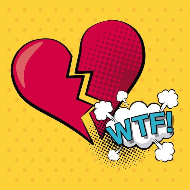 Herz gebrochen mit wolke dialogfeld wtf text Premium Vektoren