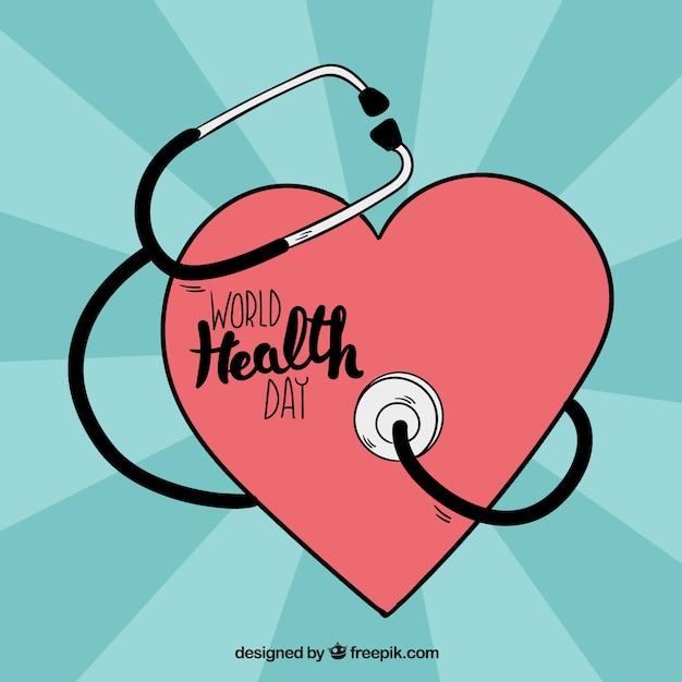Herz-hintergrund mit stethoskop Kostenlosen Vektoren