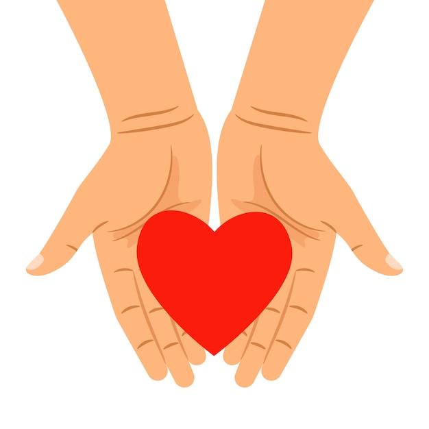 Herz in den händen lokalisiert auf weiß Premium Vektoren