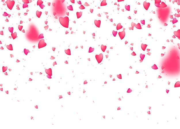 Herz konfetti hintergrund. von oben fallen rosa liebesteilchen. verschwommenes blütenblatt. Kostenlosen Vektoren