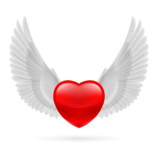 Herz mit erhobenen flügeln Premium Vektoren