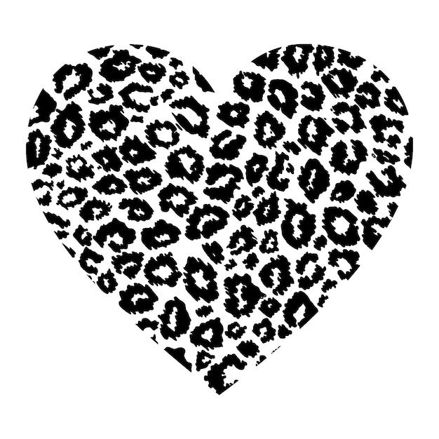 Herz mit leopardenmuster lokalisiert auf weißem hintergrund. Premium Vektoren