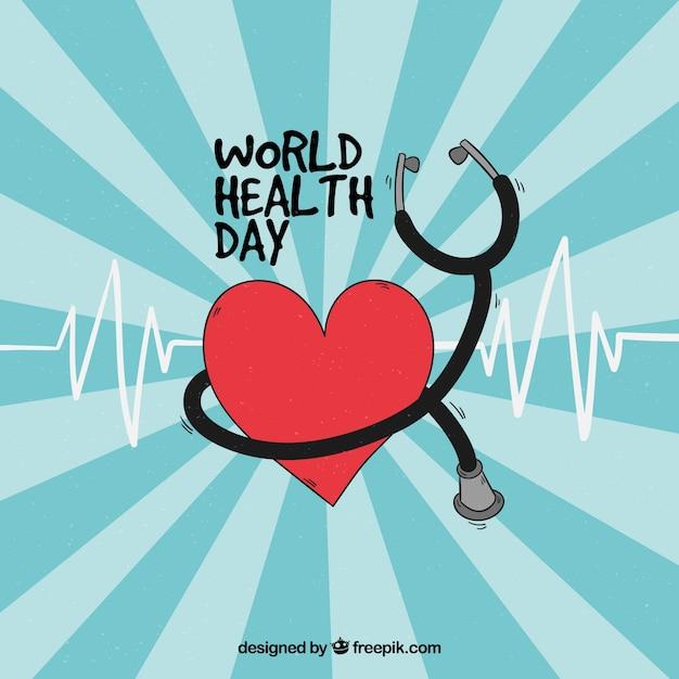 Herz mit stethoskop hintergrund Kostenlosen Vektoren