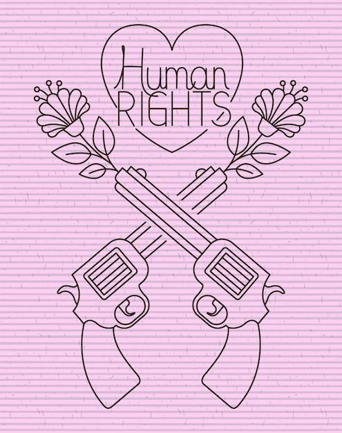 Herz mit waffen gekreuzt menschenrechtsbotschaft Premium Vektoren
