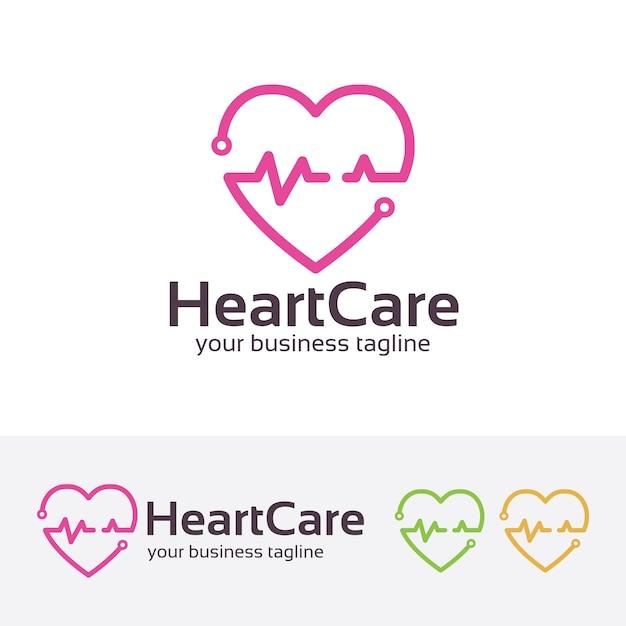 Herz-Pflege-Medic-Logo-Vorlage | Download der Premium Vektor